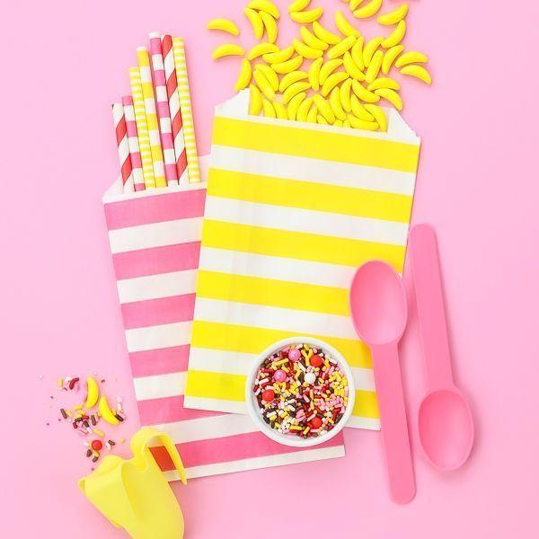 Pink Reusable Plastic Ice Cream Spoons - Banana Split Party Ideas Board
