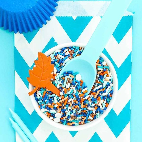Boho Blues Sprinkles - Rich colors of blues, oranges, and white make such a modern boy theme!