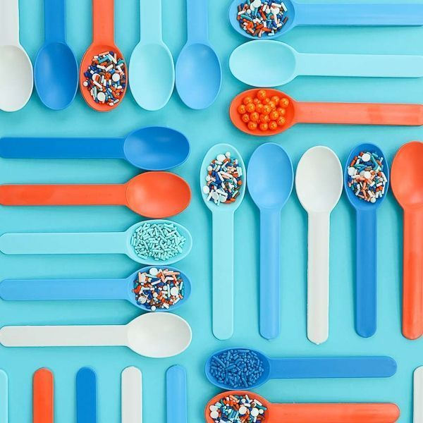 Blue, Light Blue, Orange, White Plastic Ice Cream Spoons - Boho Blues Party Ideas