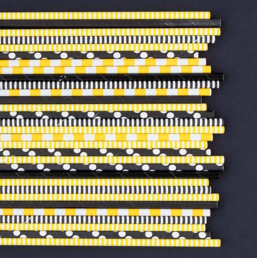 Bumble Bee Paper Straws- Black Polka Dot Paper Straws- Black Paper Straws