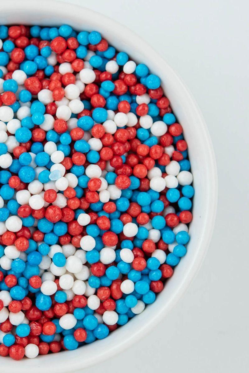 Patriotic Crispy Sprinkles | 4th of July, Red, Wihte, Blue Sprinkle Crispies, Crunchy Sprinkles