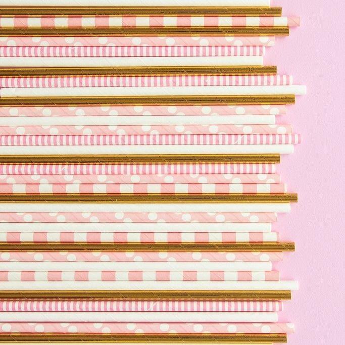 Light Pink Polka Dot Paper Straws - Light Pink Paper Straws