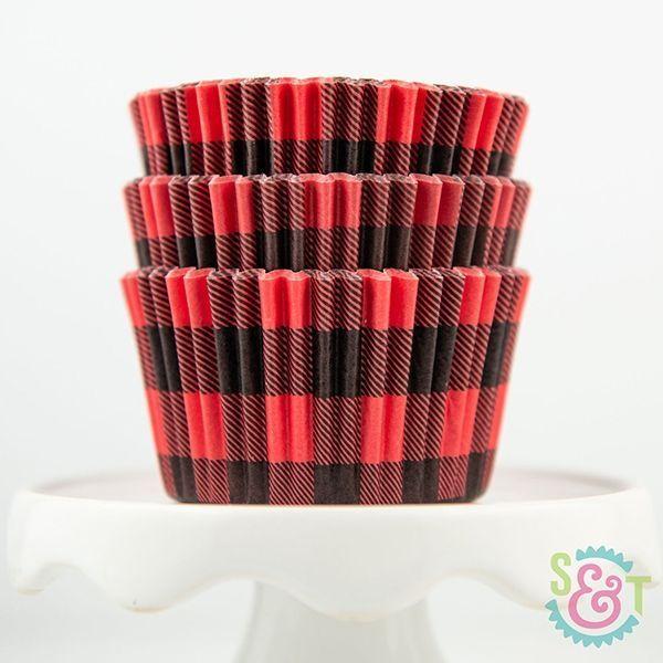 Buffalo Plaid Cupcake Liners - Red Plaid Baking Cups - Lumberjack Cupcake Liners