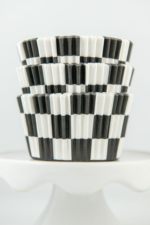 Checkered Cupcake Liners - Checkered Baking Cups - Racing Cupcake Liners