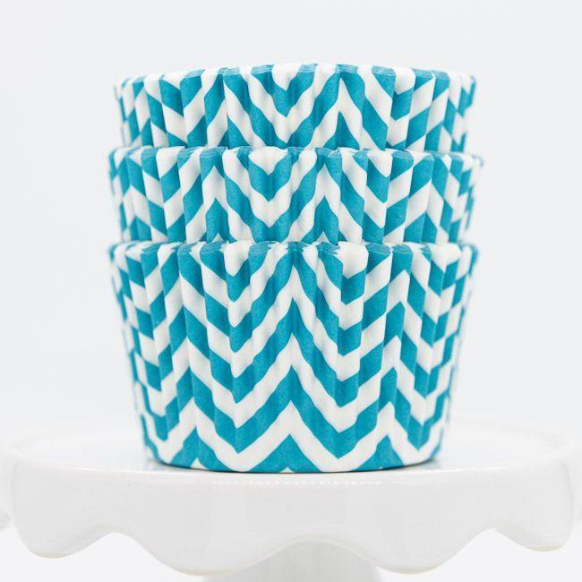 Chevron Aqua Cupcake Liners | Aqua Blue Baking Cups - Chevron Cupcake Cups