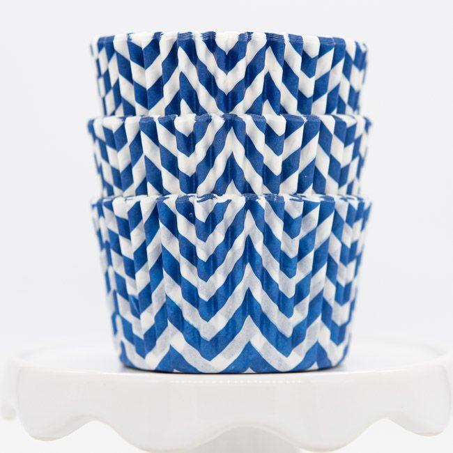 Chevron Blue Cupcake Liners   Blue Baking Cups - Chevron Cupcake Cups