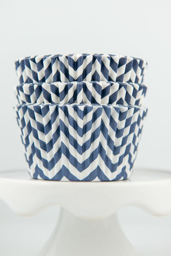 Chevron Navy Blue Cupcake Liners - Navy Blue Baking Cups - Chevron Cupcake Cups
