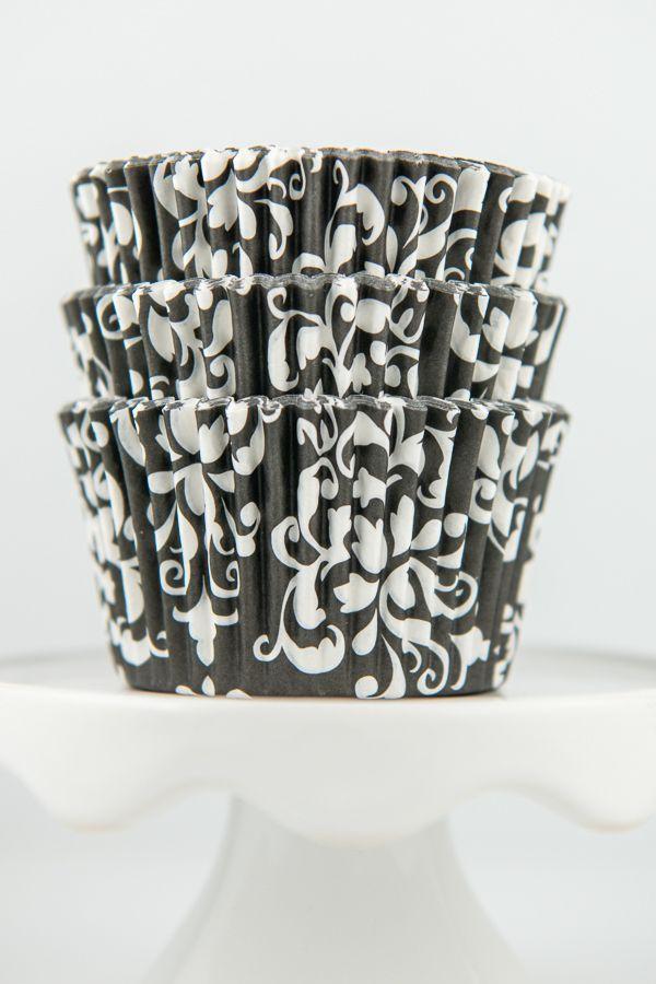 Damask Black Cupcake Liners - Black Baking Cups - Damask Cupcake Cups