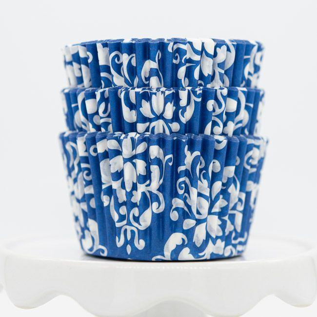 Damask Blue Cupcake Liners | Blue Baking Cups - Damask Cupcake Cups