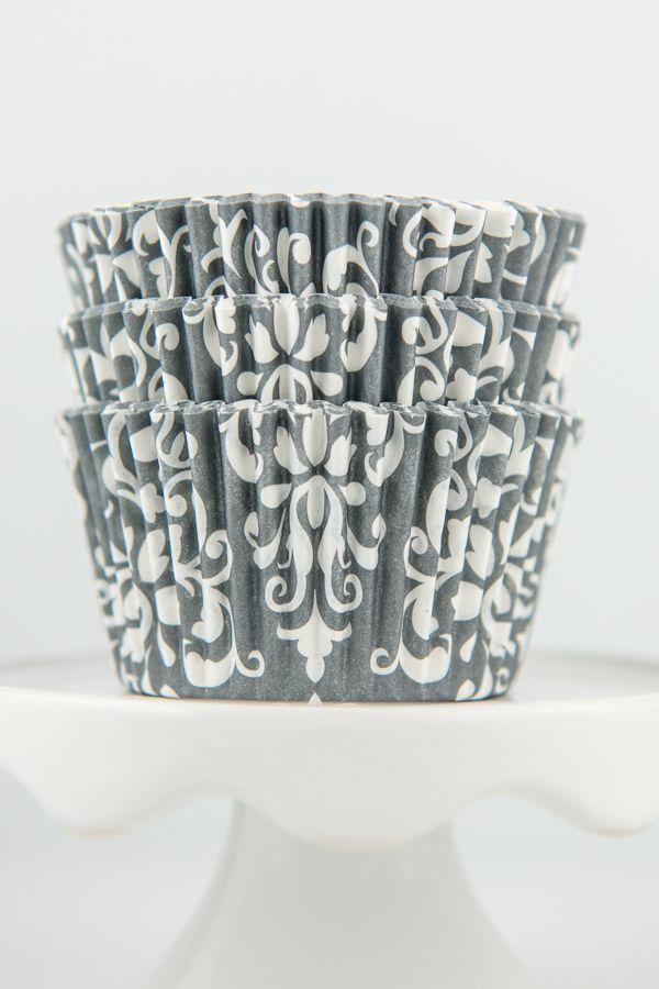 Damask Gray Cupcake Liners - Gray Baking Cups - Damask Cupcake Cups