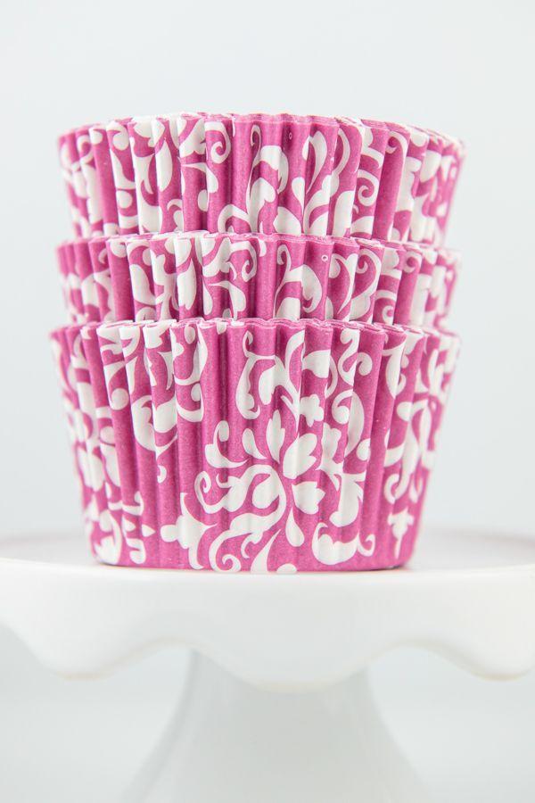 Damask Pink Cupcake Liners - Pink Baking Cups - Damask Cupcake Cups
