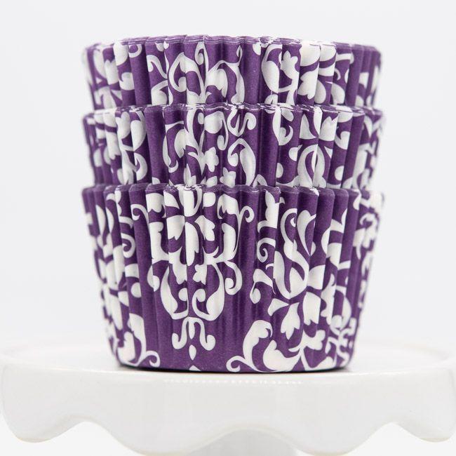 Damask Purple Cupcake Liners | Purple Baking Cups - Damask Cupcake Cups