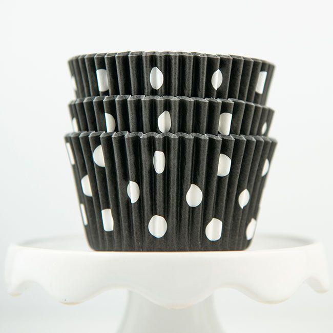 Polka Dot Black Cupcake Liners - Black Baking Cups - Polka Dot Cupcake Cups
