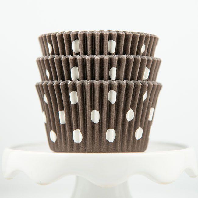 Polka Dot Brown Cupcake Liners - Brown Baking Cups - Polka Dot Cupcake Cups