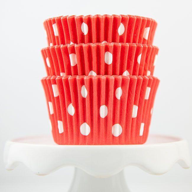 Polka Dot Coral Cupcake Liners - Coral Baking Cups - Polka Dot Cupcake Cups