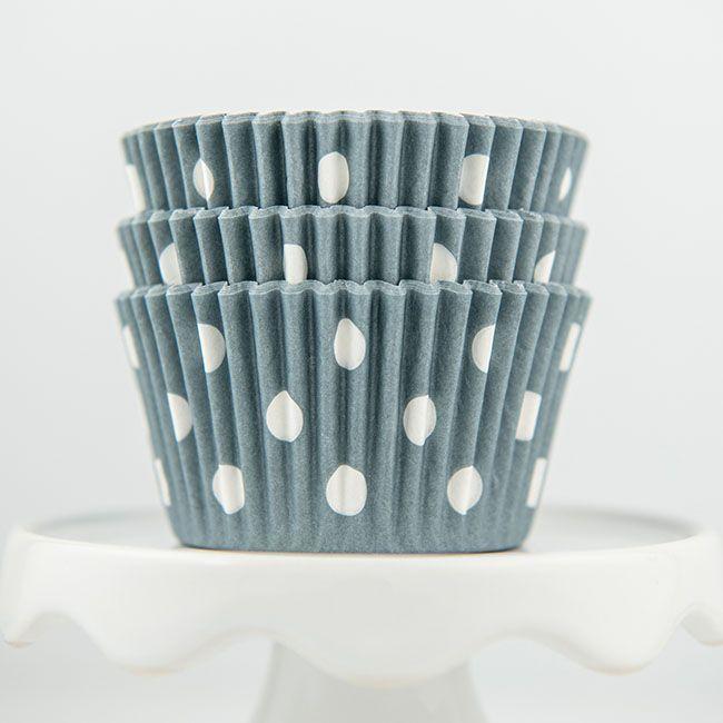 Polka Dot Gray Cupcake Liners - Gray Baking Cups - Polka Dot Cupcake Cups