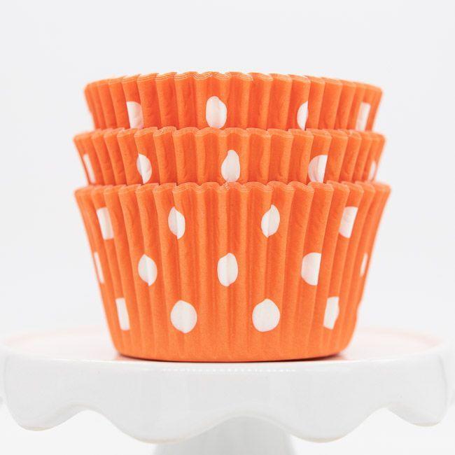 Dot Orange Cupcake Liners | Orange Dot Baking Cups - Polka Dot Cupcake Cups