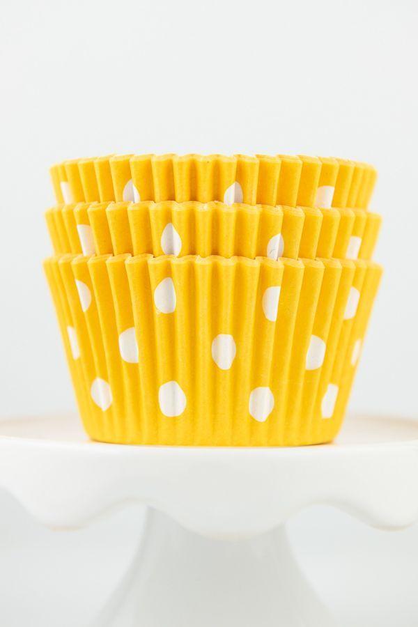 Polka Dot Yellow Cupcake Liners - Yellow Baking Cups - Polka Dot Cupcake Cups