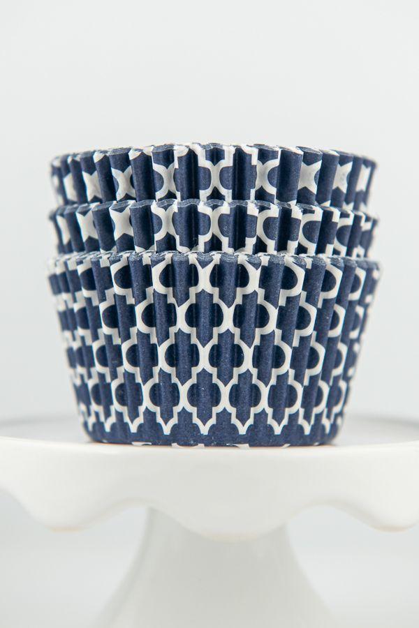 Quatrefoil Navy Blue Cupcake Liners - Navy Blue Baking Cups - Quatrefoil Cupcake Cups