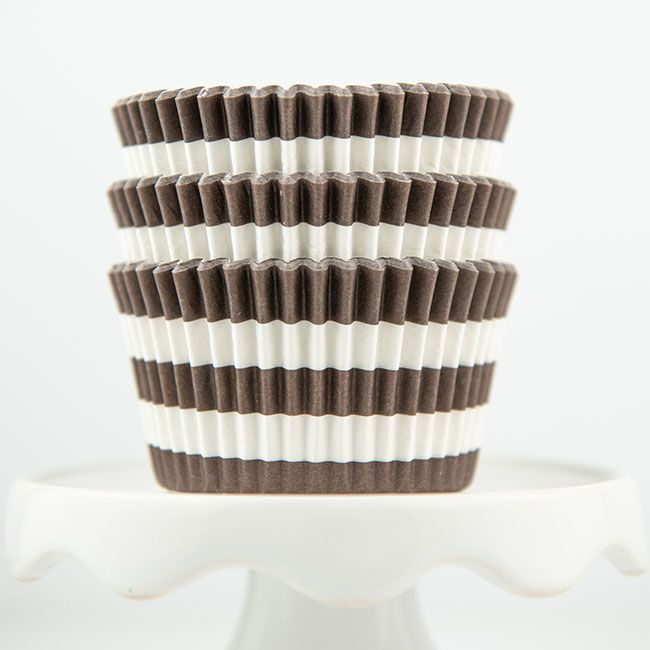 Rugby Striped Brown Cupcake Liners - Brown Baking Cups - Striped Cupcake Cups