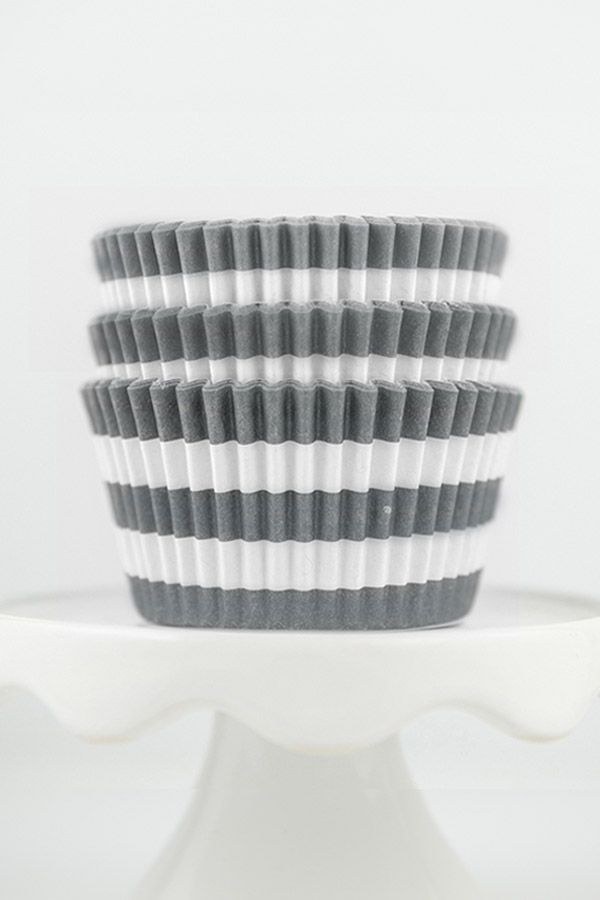 Striped Gray Cupcake Liners - Rugby Stripe Gray Baking Cups, Greaseproof Wrappers