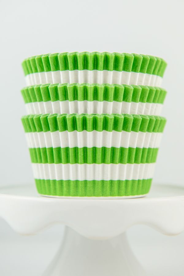 Striped Lime Cupcake Liners - Rugby Lime Green Baking Cups, Greaseproof Wrappers