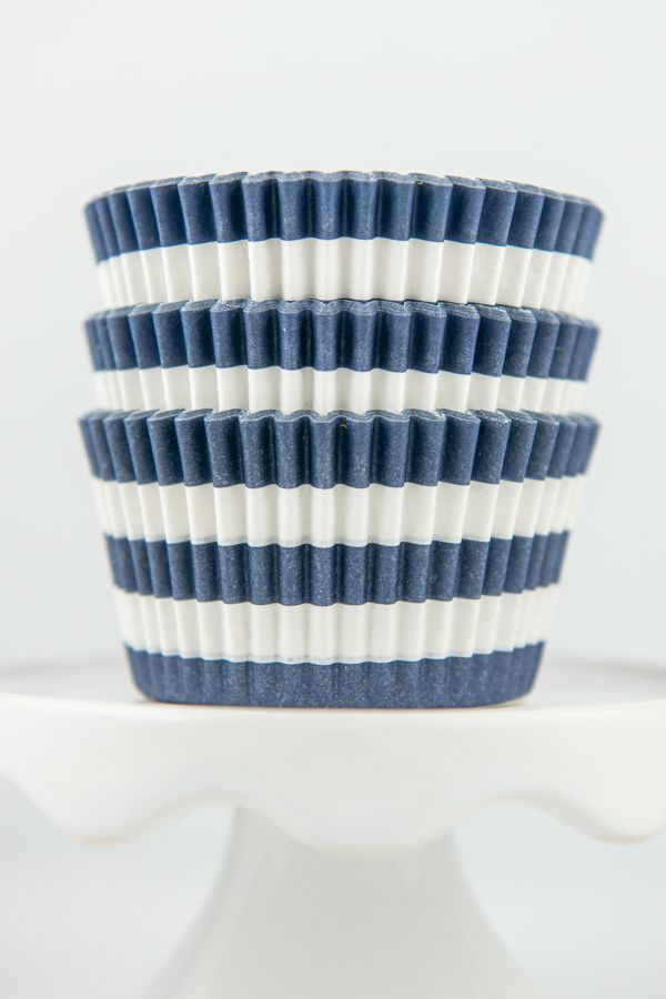 Striped Navy Blue Cupcake Liners - Rugby Navy Baking Cups, Greaseproof Wrappers