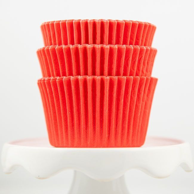 Solid Coral Cupcake Liners - Coral Baking Cups - Coral Greaseproof Cupcake Liners