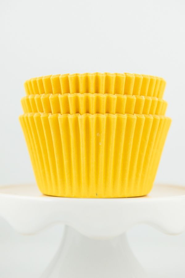 Yellow Cupcake Liners | Solid Yellow Baking Cups, Greaseproof Wrappers