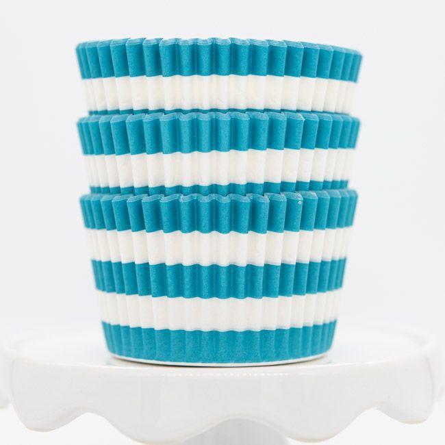 Rugby Striped Aqua Cupcake Liners | Aqua Blue Stripe Baking Cups, Cupcake Cups