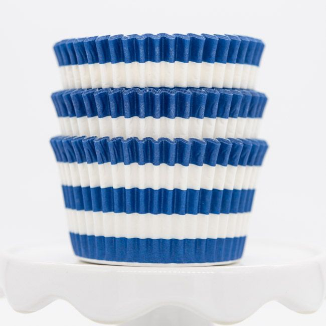 Rugby Striped Blue Cupcake Liners   Blue Stripe Baking Cups, Cupcake Cups
