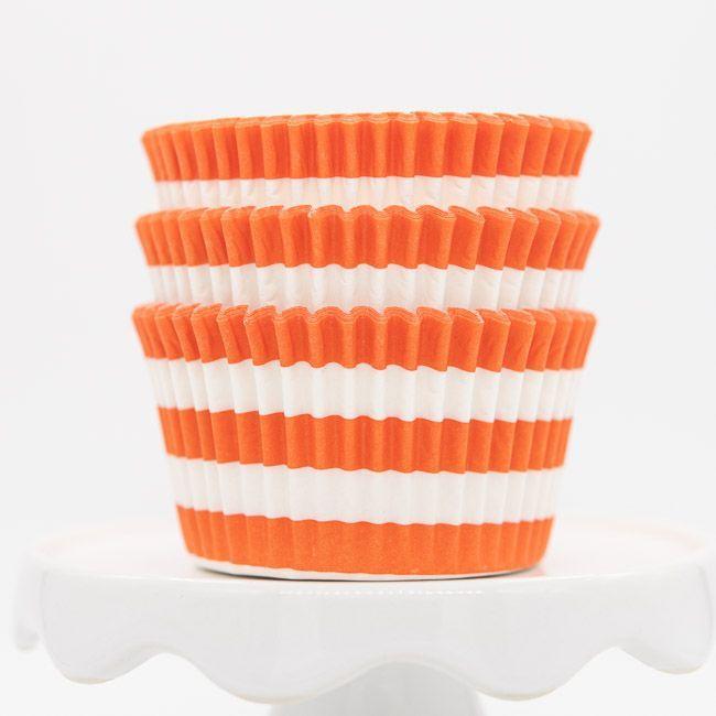 Rugby Striped Orange Cupcake Liners | Orange Stripe Baking Cups, Cupcake Cups