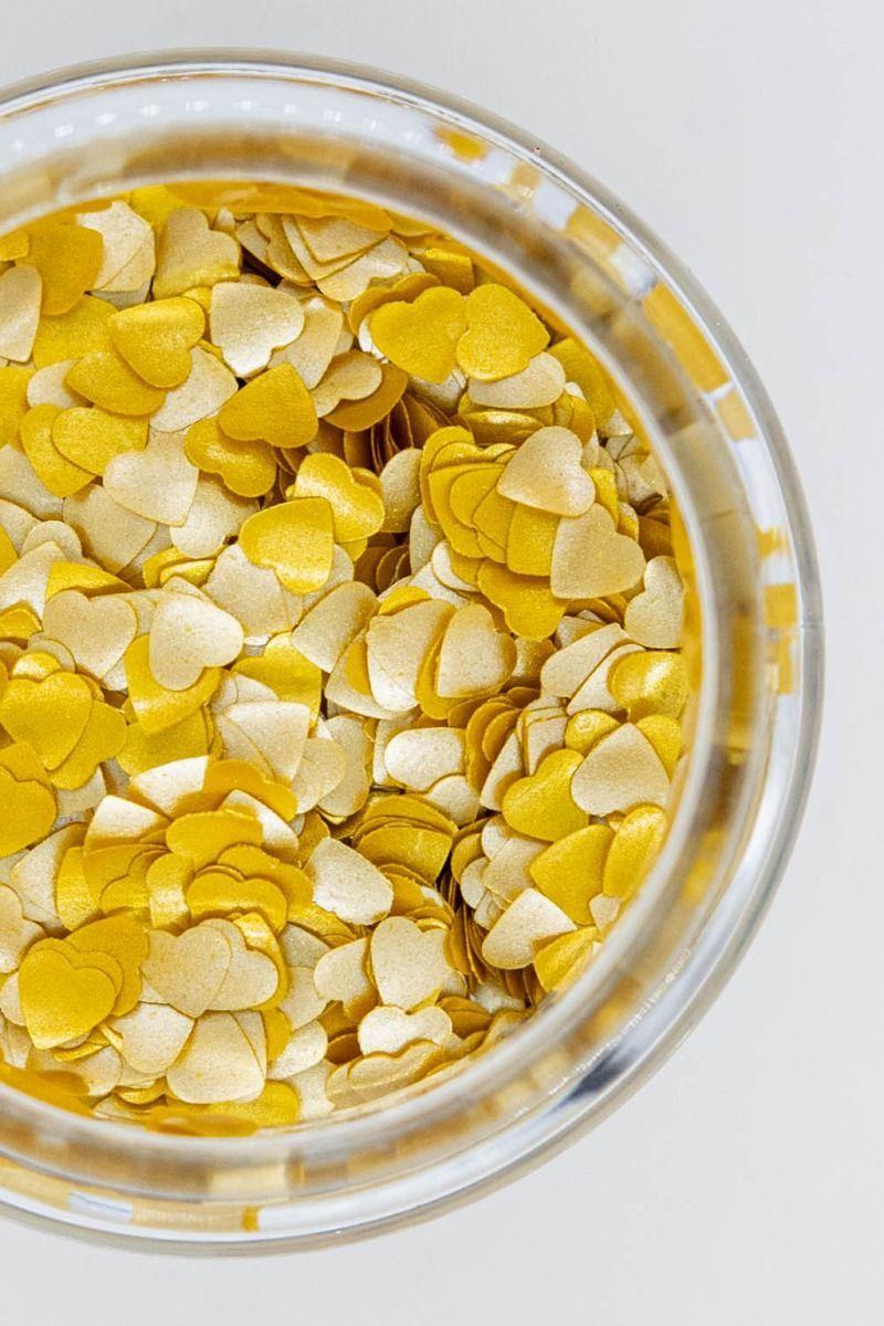 Gold Glitter Hearts| Shop Edible Gold Glitter Hearts Bulk | Sweets & Treats
