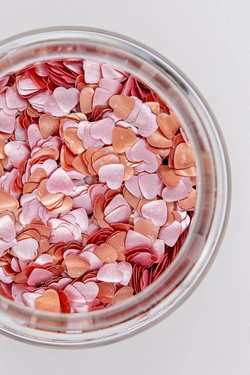Rose Gold Glitter Hearts| Shop Edible Pearl Red Glitter Hearts Bulk