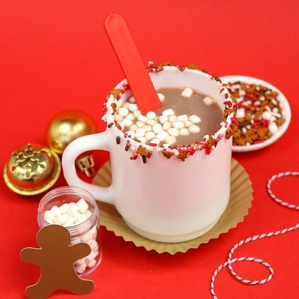 Reindeer Food Hot Cocoa - Sprinkle Rim Cocoa Mug | Tiny gingerbread quins in this fun sprinkle mix!