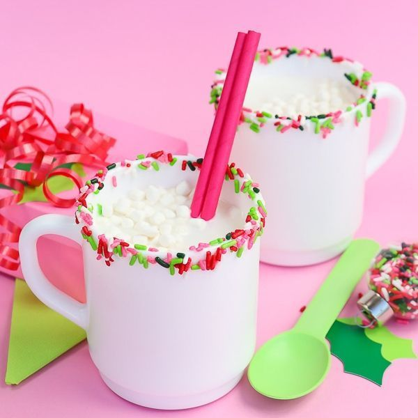 Sprinkle Glass Rim - Sprinkled Rim - Christmas White Chocolate Hot Cocoa