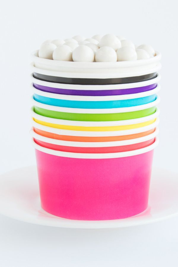 Solid Ice Cream Cups - Solid Paper Party Favor Cups - Solid Treat Cups