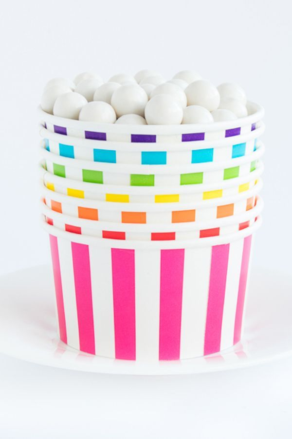 Circus Stripe Ice Cream Cups - Striped Paper Party Favor Cups - Striped Treat Cups,  Party Containers