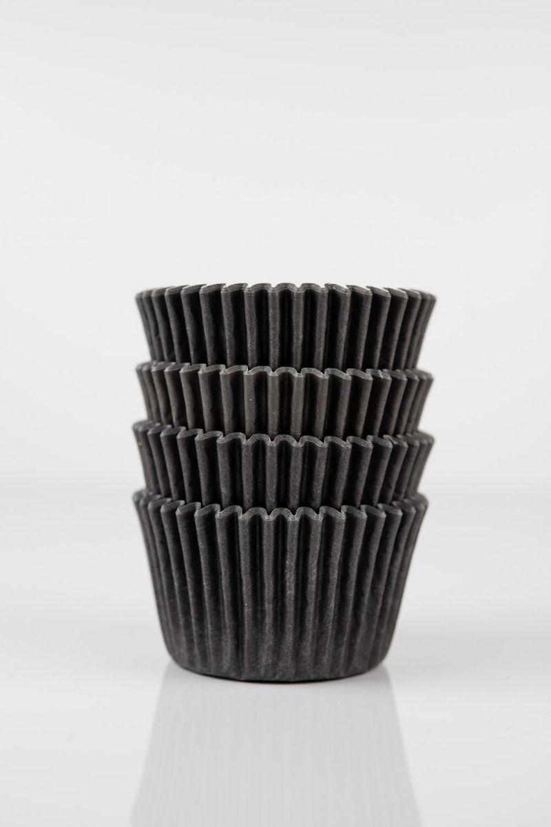 Black Mini Cupcake Liners   Black Midi Baking Cups, Greaseproof Wrappers Bulk