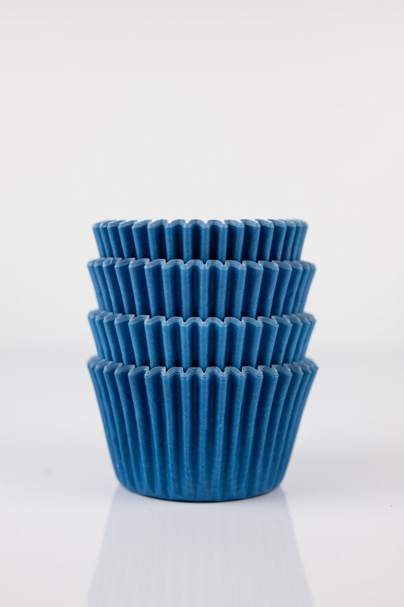 Blue Mini Cupcake Liners   Blue Midi Baking Cups, Greaseproof Wrappers Bulk