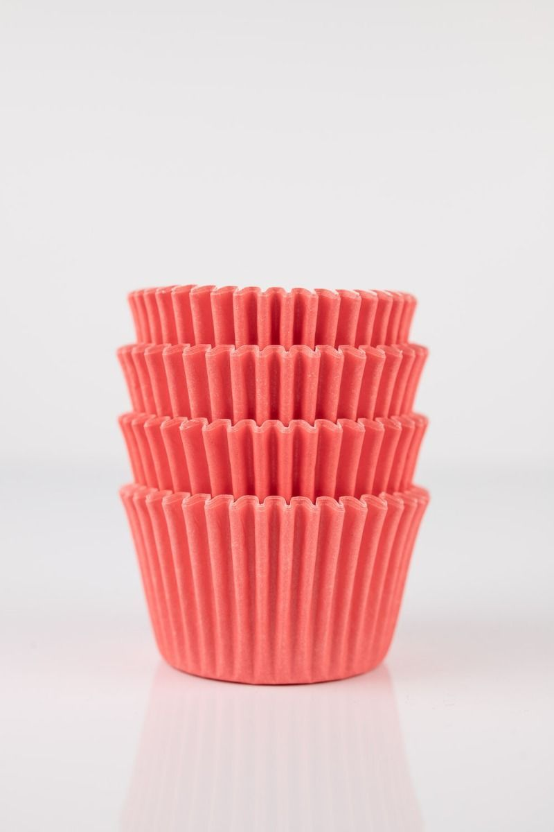Coral Mini Cupcake Liners   Salmon Colored Midi Baking Cups, Greaseproof Wrappers Bulk
