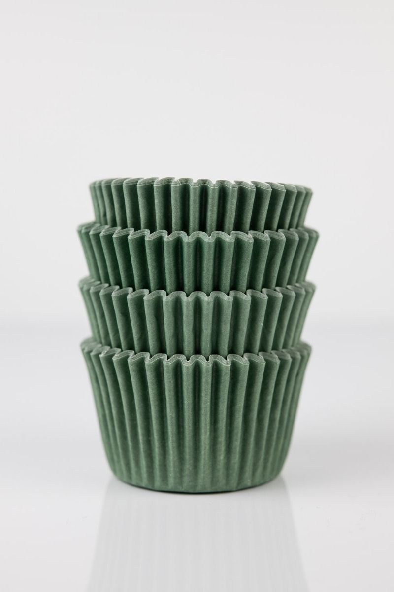 Forest Mini Cupcake Liners | Olive Green Midi Baking Cups, Greaseproof Wrappers Bulk