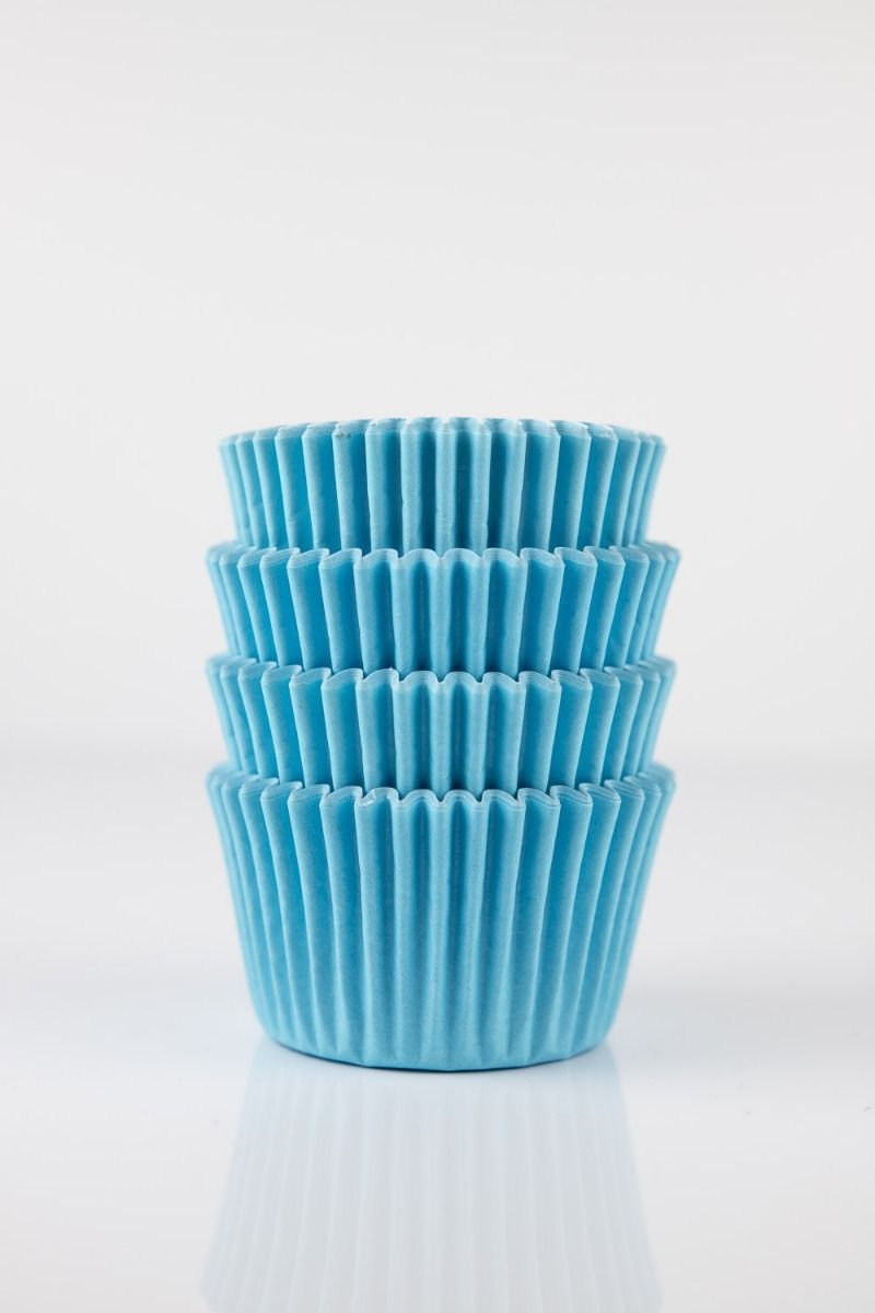 Light Blue Mini Cupcake Liners   Light Blue Midi Baking Cups, Greaseproof Wrappers Bulk