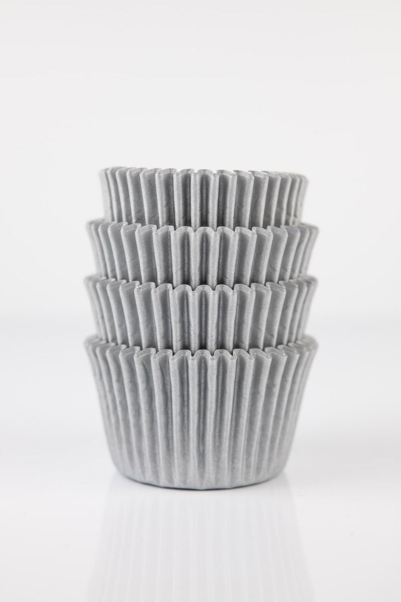 Silver Mini Cupcake Liners | Silver Baking Cups, Greaseproof Wrappers Bulk