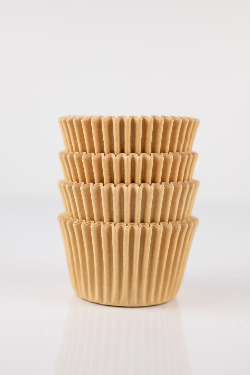 Tan Mini Cupcake Liners | Kraft Midi Baking Cups, Greaseproof Wrappers Bulk