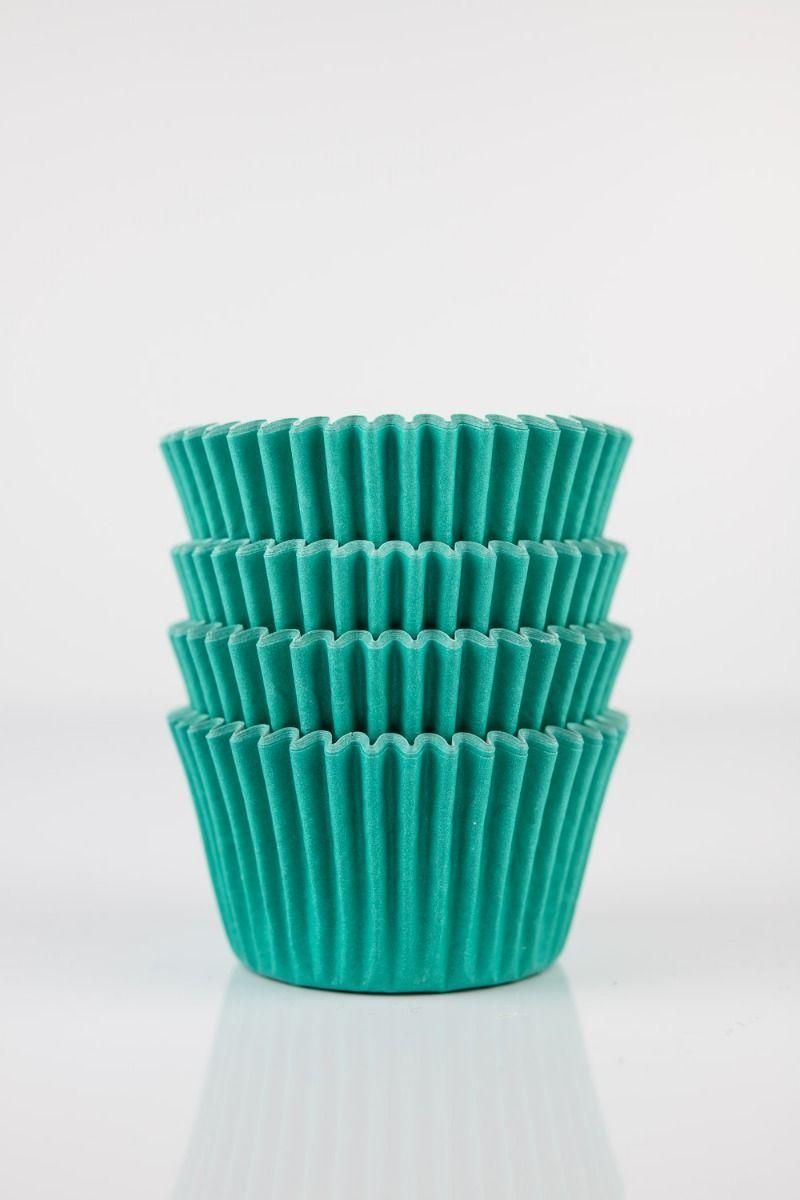 Teal Mini Cupcake Liners   Teal Green Midi Baking Cups, Greaseproof Wrappers Bulk