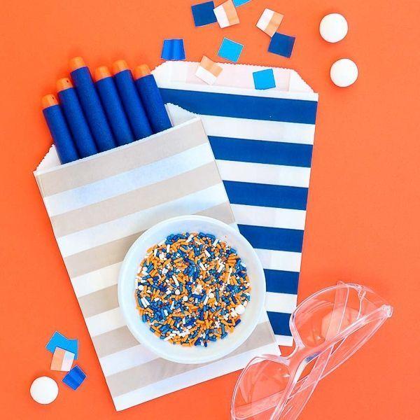 Dart Party Sprinkles Mix   Blue & Orange Foam Pit Sprinkle Medley, Edible Blend