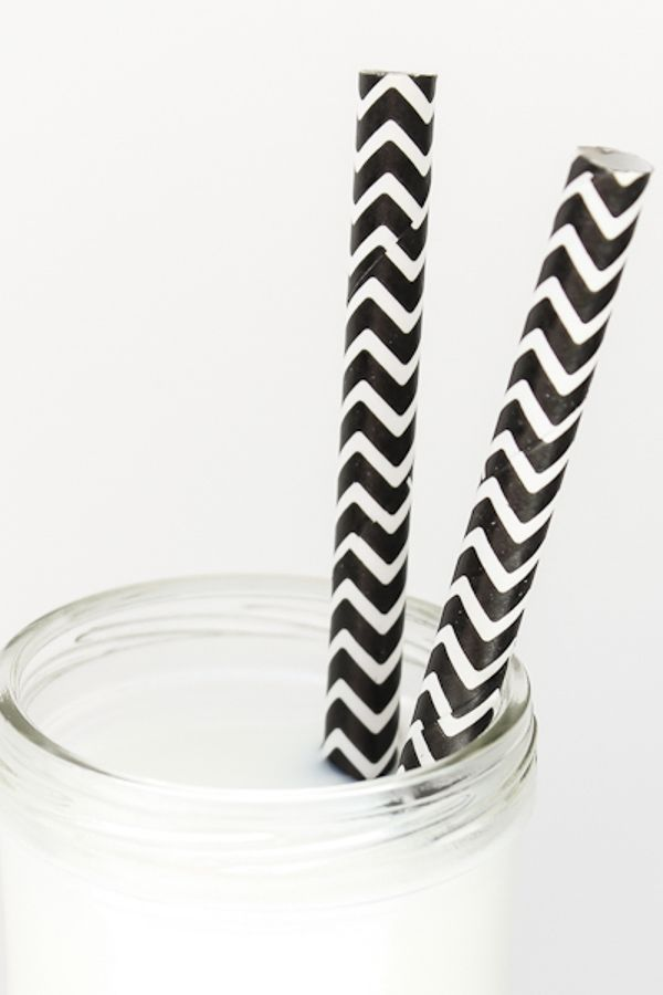 Black Chevron Paper Straws - Black Paper Straws