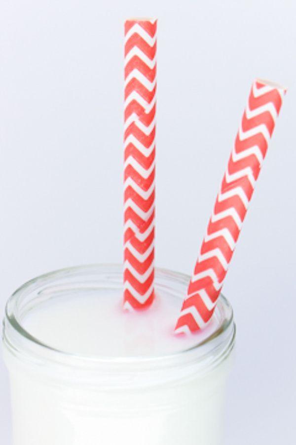 Coral Chevron Paper Straws - Coral Paper Straws