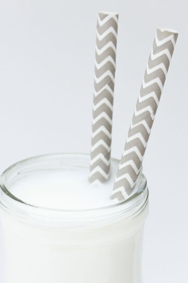 Gray Chevron Paper Straws   Bulk Chevron Gray Drinking Straws   Sweets & Treats